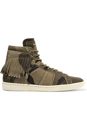 Fringed distressed suede high-top sneakers