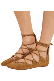 Leo lace-up embellished suede ballet flats