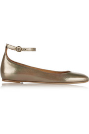 Étoile Lili metallic textured-leather ballet flats