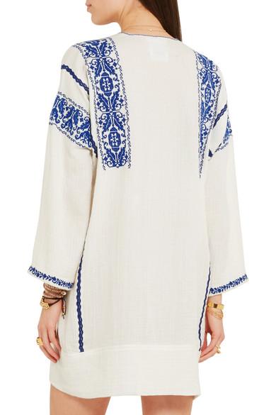 2f409dbb53cb43 Isabel Marant Étoile. Vinny embroidered cotton-gauze mini dress. $192. Play