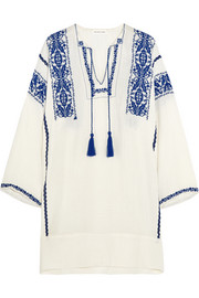 Vinny embroidered cotton-gauze mini dress
