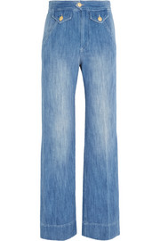 Odessa cotton-chambray wide-leg pants