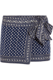 Étoile Isabel Marant Lyne wrap-effect printed cotton mini skirt