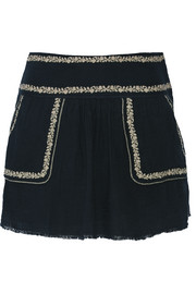 Vittoria embroidered cotton-gauze mini skirt