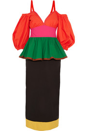 Color-block stretch-cotton poplin dress