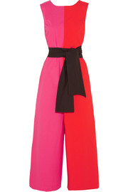 Color-block stretch-cotton poplin jumpsuit