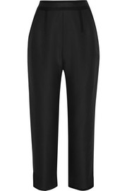 Cotton and silk-blend faille straight-leg pants