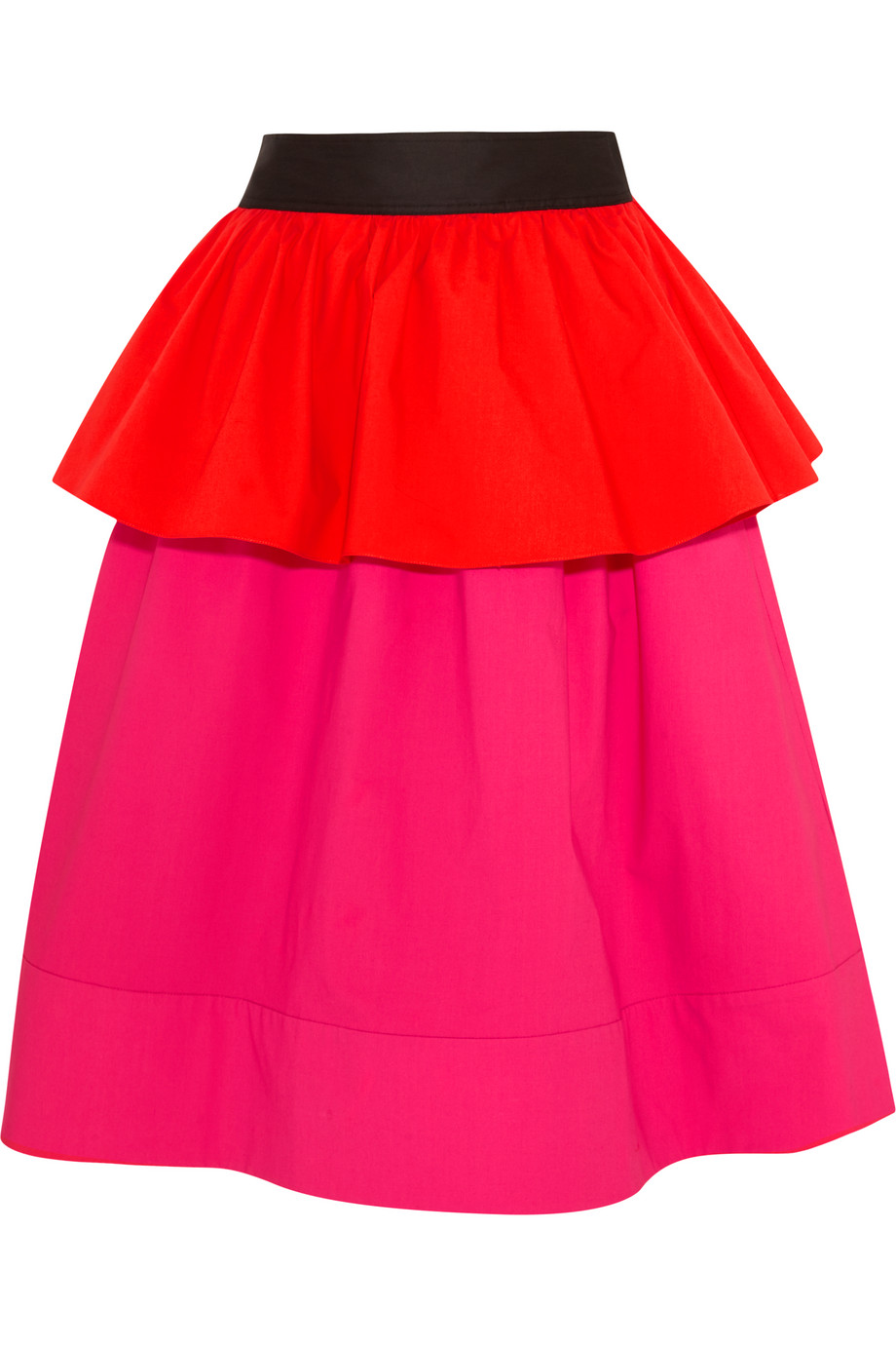 Isa Arfen Ruffled Color-Block Stretch-Cotton Poplin Skirt, Pink/Red, Women's, Size: 10