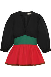 Color-block stretch-cotton poplin peplum top