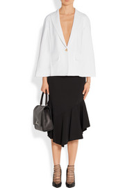 Cape-effect blazer in white stretch-cady
