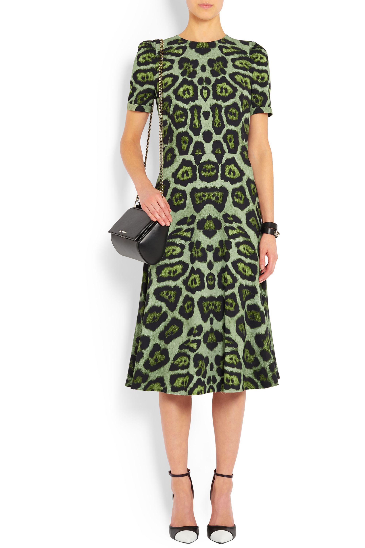 Givenchy Midi dress in green leopard-print stretch-cady