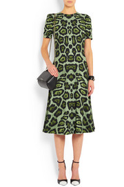 Givenchy Midi dress in green leopard-print stretch-cady
