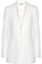 Satin-trimmed blazer in cream grain de poudre wool