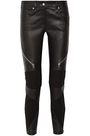Skinny pants in black leather and stretch-knit