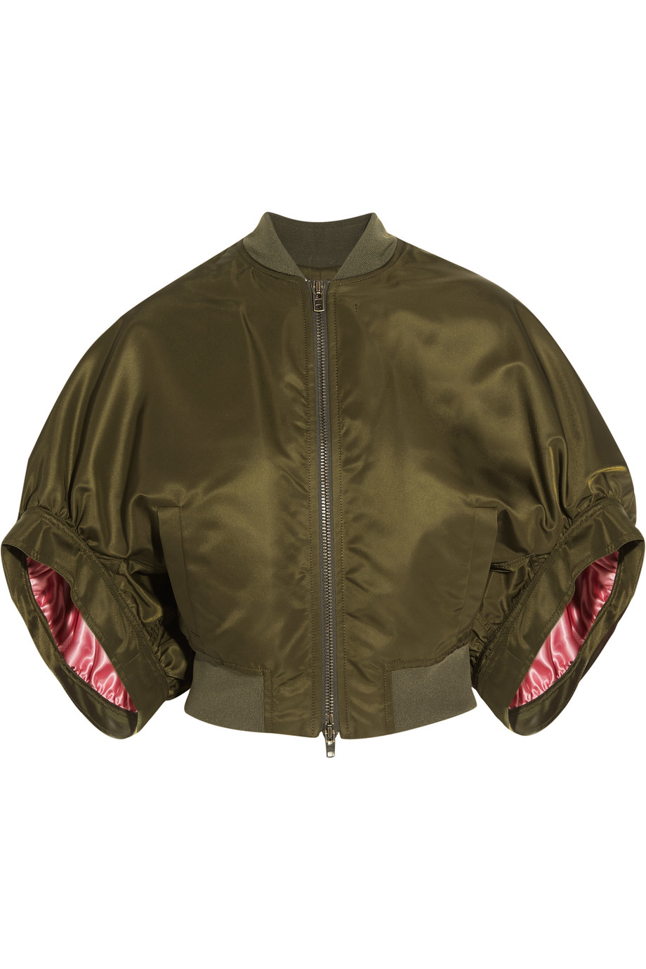 Givenchy Cropped Bomber Jacket in Army-Green Satin, Army Green, Women's, Size: 38