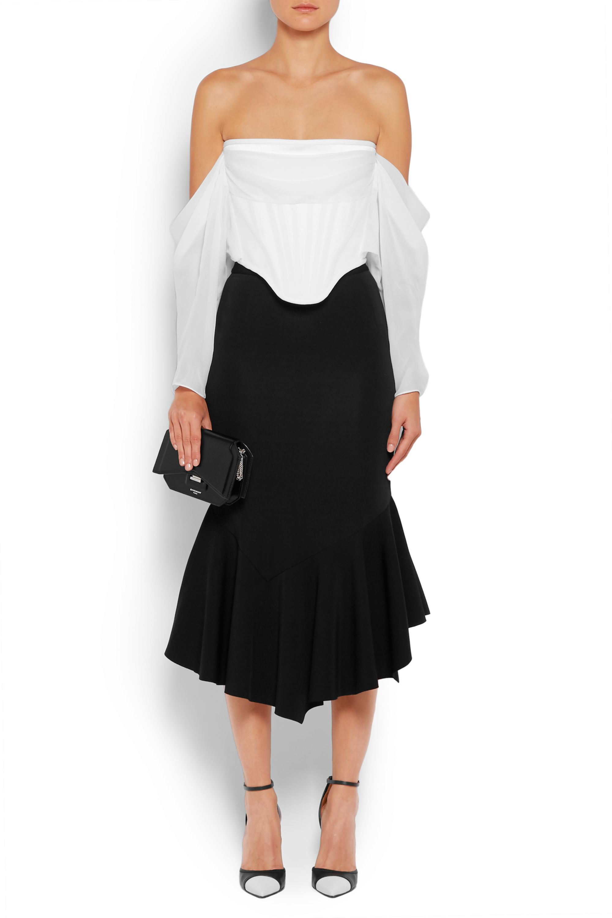 Givenchy Off-the-shoulder top in white satin and silk-chiffon