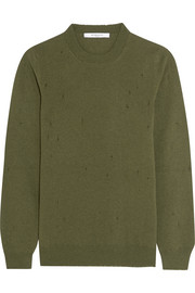 Distressed sweater in army-green cashmere