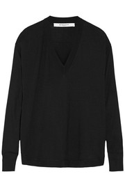 Wool and silk-blend sweater in black