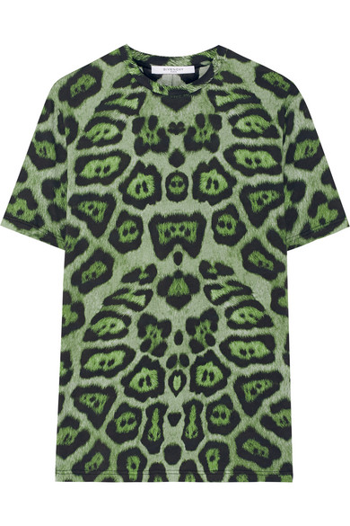 Givenchy - T-shirt In Green Leopard-print Cotton-jersey - small