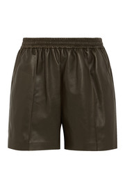 Shorts in army-green leather