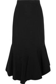 Fluted midi skirt in black stretch-jersey