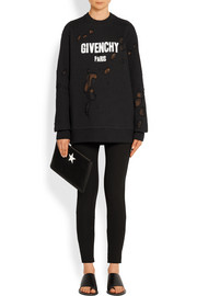 Givenchy Distressed sweatshirt in printed cotton-jersey