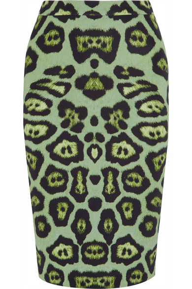 Givenchy - Skirt In Green Leopard-print Stretch-jersey - Leopard print