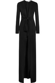 Knotted gown in black jersey