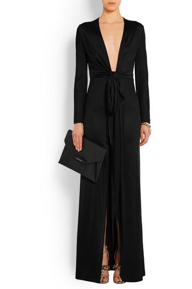 8f4c48898e8 Robe longue du soir nouée en jersey noir
