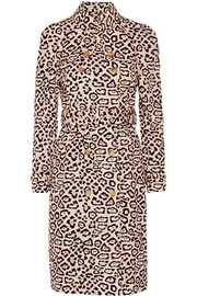 Trench coat in leopard-print cotton