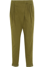 Tapered pants in silk-trimmed army-green cotton-twill