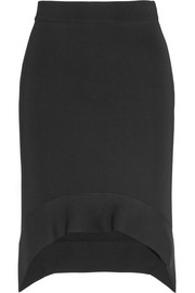 Cutaway skirt in black stretch-ponte