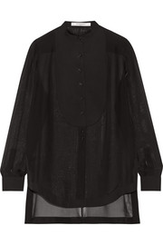 Poplin-paneled shirt in black silk-chiffon