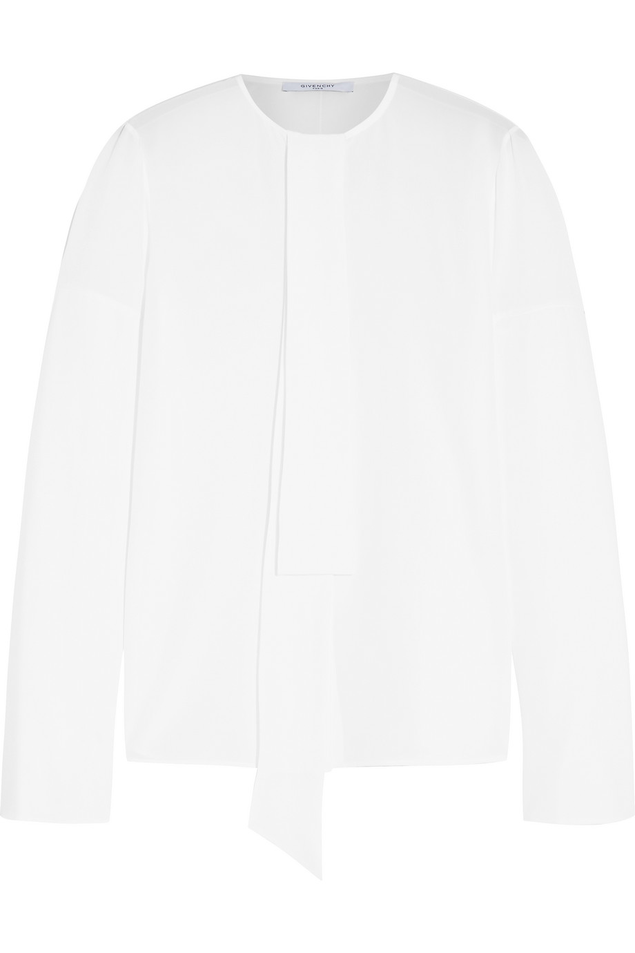 Givenchy Pussy-Bow Blouse in White Silk Crepe De Chine, Women's, Size: 40