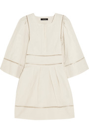 Reone pointelle-trimmed linen and cotton-blend mini dress