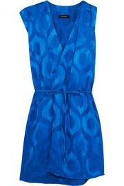 Sudley satin-jacquard wrap-effect dress