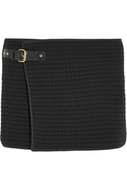 Gael wrap-effect cotton-matelassé mini skirt