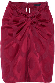 Sophy twist-front satin-jacquard skirt