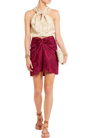 Isabel Marant Sophy twist-front satin-jacquard skirt