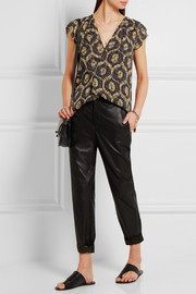Isabel Marant Trudy wrap-effect printed devoré-chiffon top