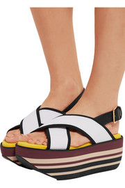 Marni Leather and mesh platform sandals