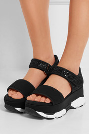 Marni Mesh and glittered twill  platform sandals