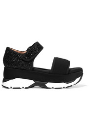 Mesh and glittered twill  platform sandals