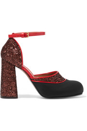 Glittered twill and patent-leather Mary Jane pumps