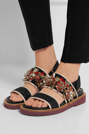 Embellished glittered leather and suede slingback sandals