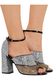 Marni Glittered leather and python sandals