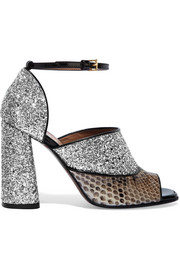 Glittered leather and python sandals