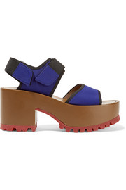 Neoprene and leather platform sandals