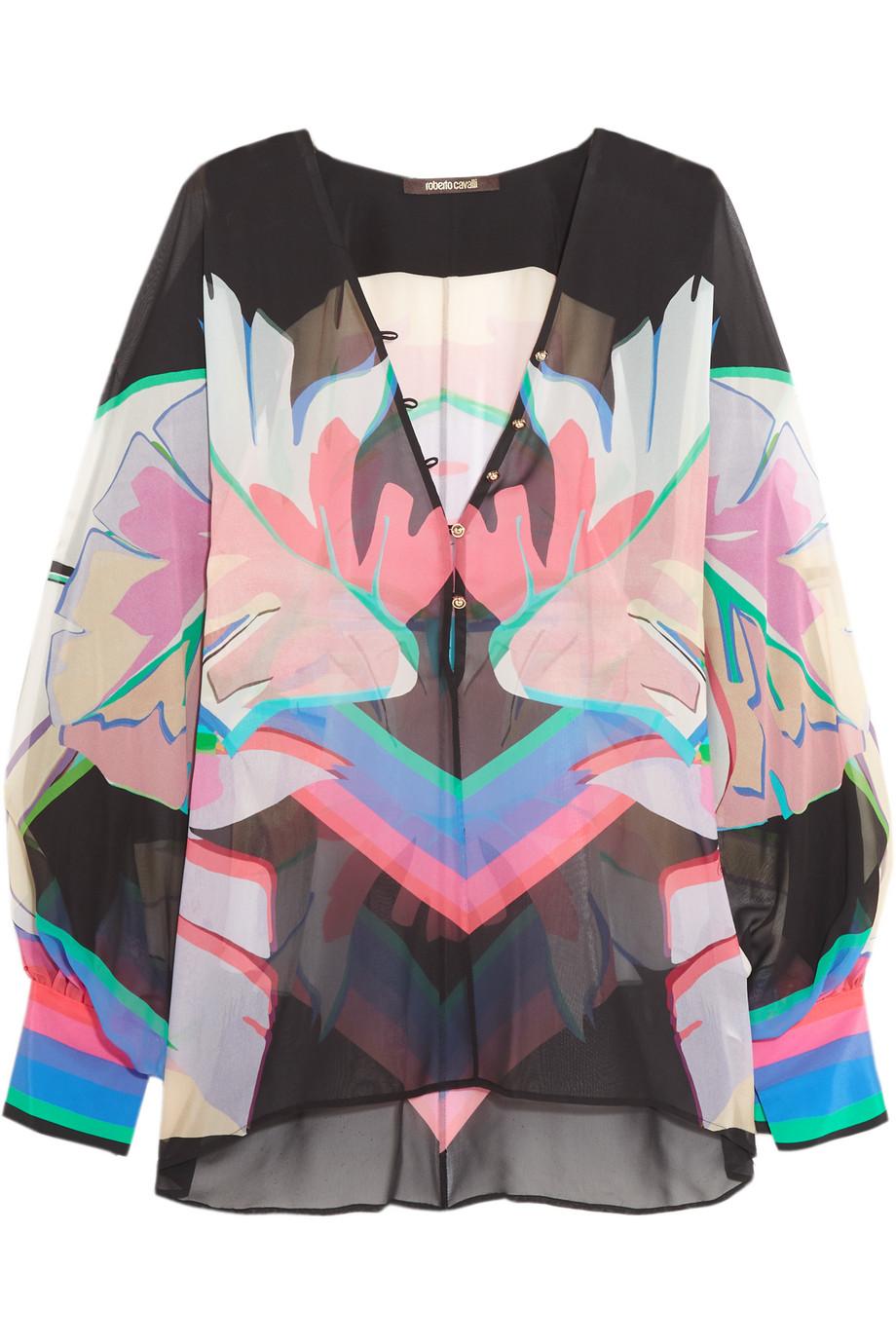Roberto Cavalli Printed Silk-Chiffon Blouse, Pink, Women's, Size: 38