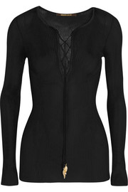 Roberto Cavalli Ribbed jersey top
